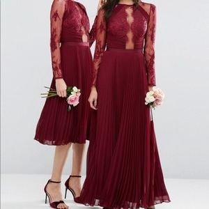 ASOS Lace Eyelash Long Sleeve Dress - Burgundy